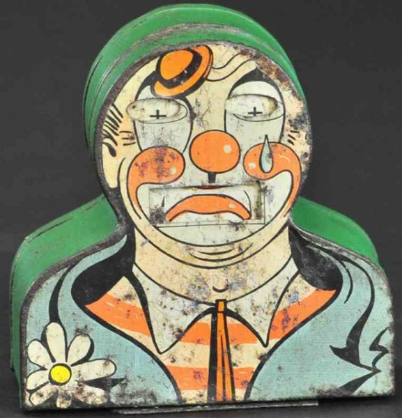 Unknown Tin-Mechanical Banks Happy clown tin mechanical bank, made in Germany, very rare