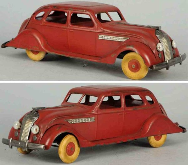 Kingsbury toys Tin-Oldtimer Pressed steel auto wind-up toy in red, air  flow car with wh
