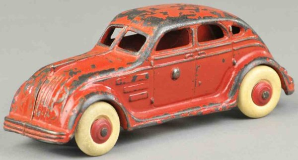 Williams AC Cast-Iron Oldtimer Airflow sedan made of cast iron, painted in red body with ru