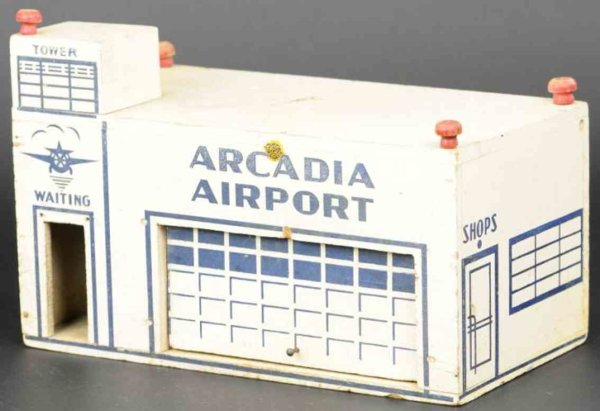 Arcade Wood-Toys Airport made of wood and stenciled Arcadia Airport on faça