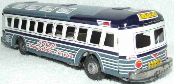 Marx Tin-Buses Airport Transportation Service Bus Tin Litho Friction Toy. T
