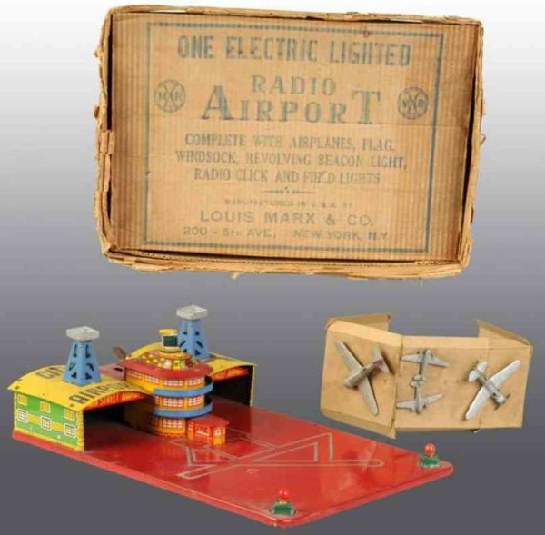 Marx Tin-Toys Electric lighted radio airport with  original box with inser