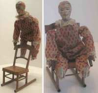 Guenthermann Tin-Clowns Large acrobatic clown on chair of...
