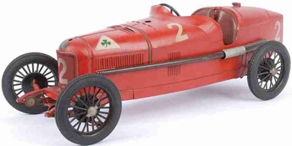 CIJ Tin-Race-Cars Alfa Romeo P2 Racing Car in red or silver with clockwork, wi