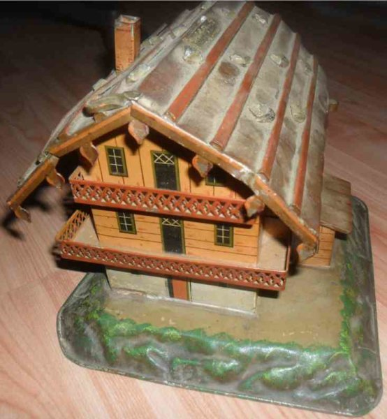 Unknown Tin-Mechanical Banks Mountain house as mechanical bank made of tin, probably Germ