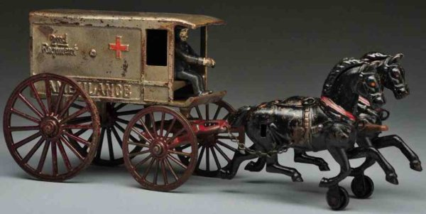 Harris Toy Co Cast-Iron-Carriages Cast iron ambulance horse-drawn toy, marked 2nd Regiment o