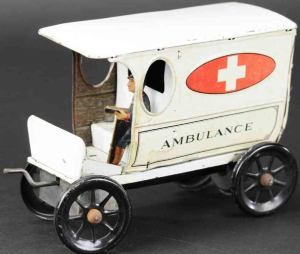 Gilbert Tin-Trucks Ambulance, lthographed tin, elusive example, done in white b
