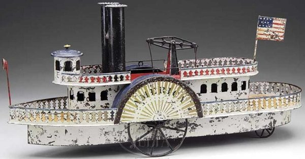 Althof Bergmann & C0 Tin-Ships AMERICA paddle wheel river boat.  To date this is one of t