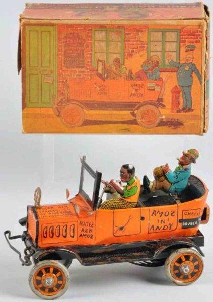 Marx Tin-Other-Vehicles  Amos N Andy taxi cab of lithographed tin with wind-up, inc