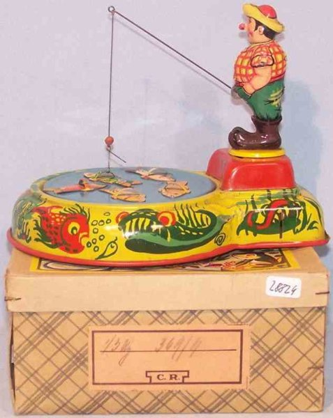 Berkenkamp & Schleuter Tin-Figures Tin fishing game with clockwork, lithographed in blue, yello