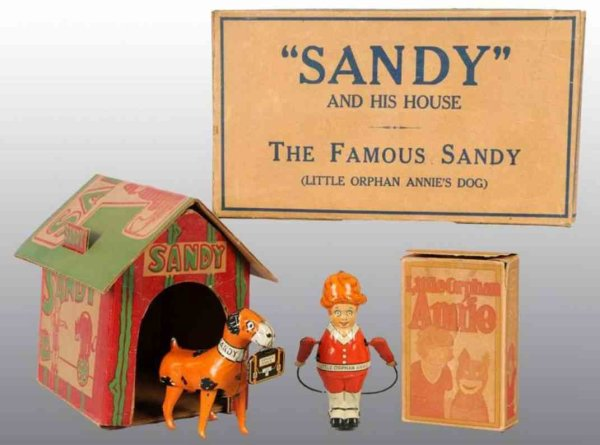Marx Tin-Figures Little orphan Annie & Sandy in original box, includes one or