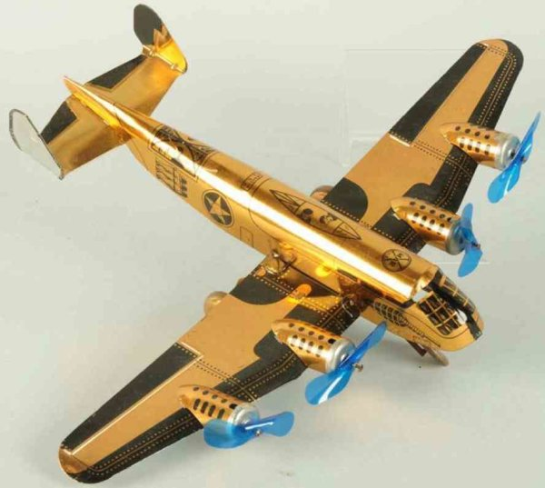 Marx Tine Ariplanes Tin lithographed wind-up airplane toy, army bomber version w