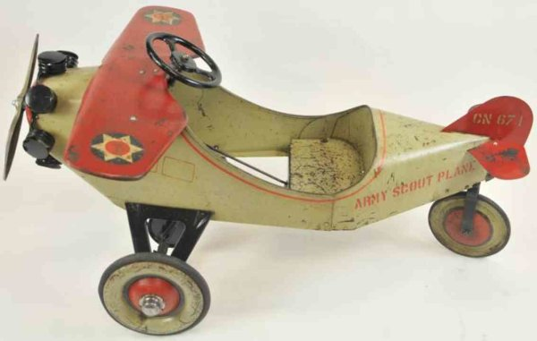 Steelcraft Tin-pedal cars Army scout pedal plane,  pressed steel, painted in tan color