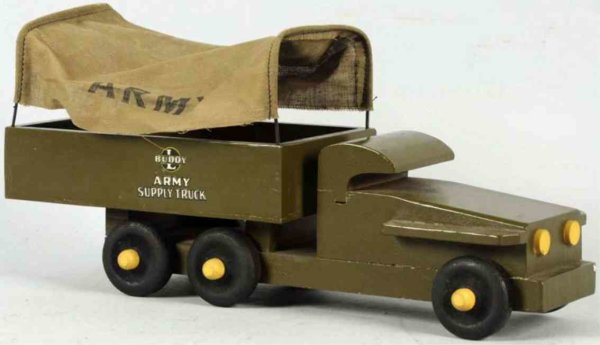 Buddy L Wood Vehicles Wodden army supply truck, made during the WWII  to conserve