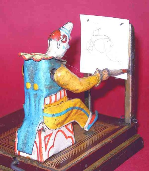 Vielmetter Tin-Clowns Painting clown lithographed, if one turns the crank the clow