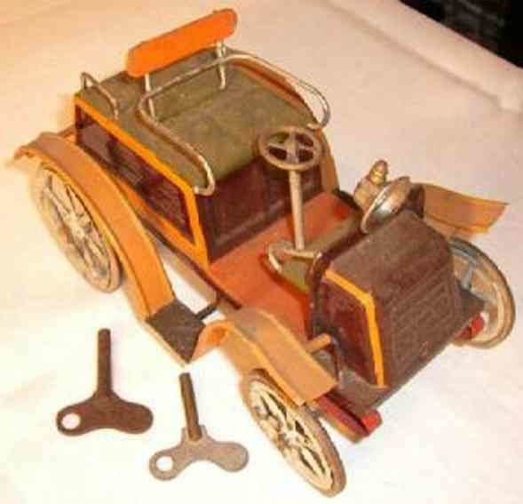 Bing Tin-Oldtimer Car with clockwork in brown and green