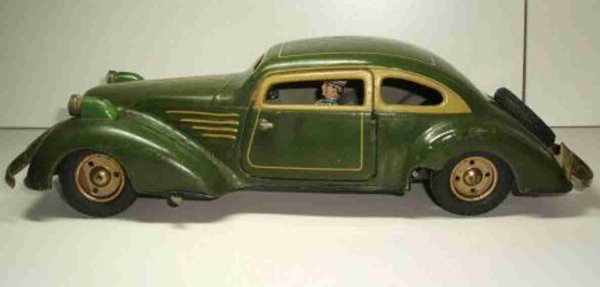Guenthermann Tin-Oldtimer Clockwork Car with lights in dark green with light green pri