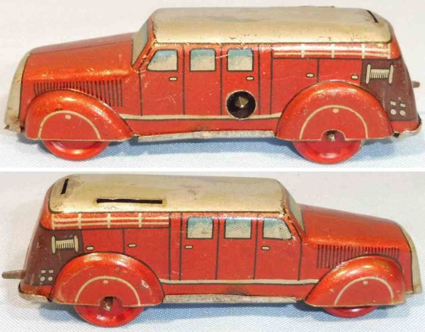 Tippco Tin-Penny Toy Small fire engine car with clockwork, made of tin lithograph