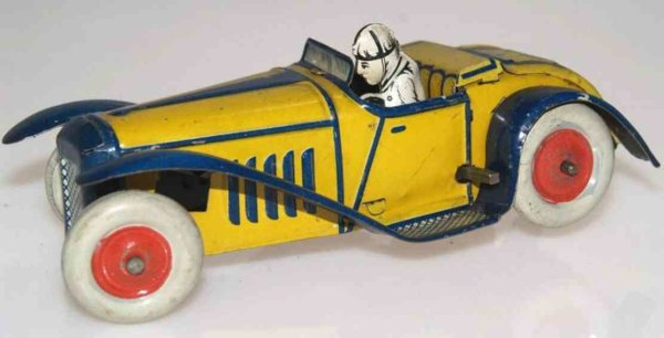Guenthermann Tin-Race-Cars  Racing car in yellow and blue lithographed, Made in German
