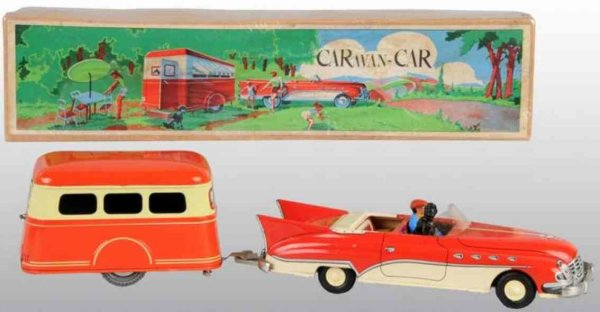 Joustra Tin-Cars Car and trailer set with friction drive ot tin, with composi