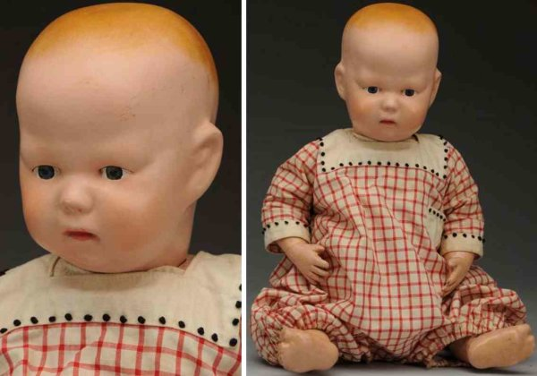 Schoenhut Dolls All wood baby doll, impressed mark on back of neck, bald hea