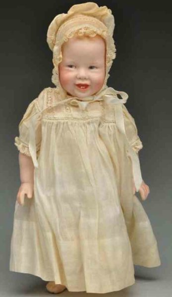 Thompson Martha Dolls Bisque smiling baby doll with signed shoulder head ?M, Thomp