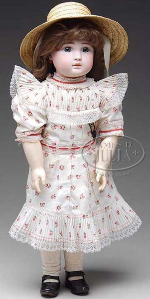 Steiner Jules Nicholas Dolls French bebe doll, pale bisque, a quizzical expression, and l