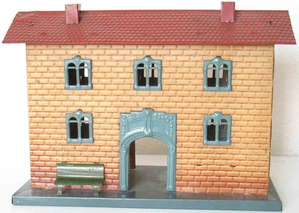 Kraus-Fandor Railway-Stations Railway station #2040/1 with brick embossing and red roof, s