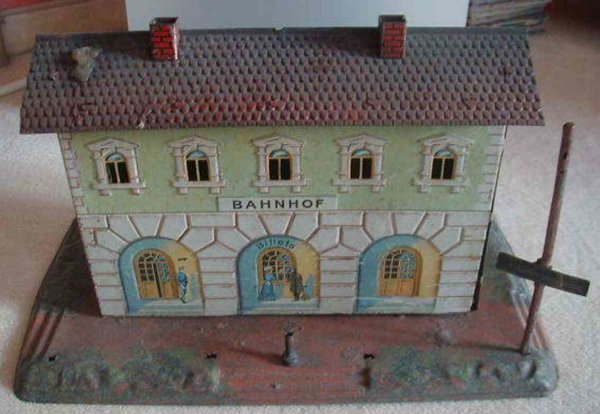 Bing Railway-Stations Railway station #13846/0 lithogrphed on hand-coated base wit