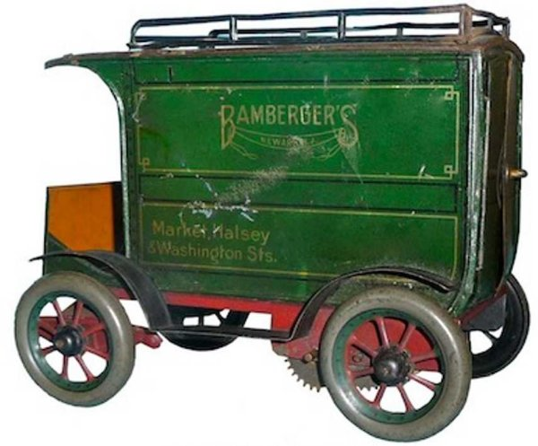 Eberl Hans Tin-Trucks Van BAMBERGER Newark N.J. lithographed, with Key-wind sp