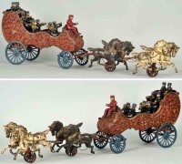 Hubley Cast-Iron-Carriages Cast iron horse-drawn band...