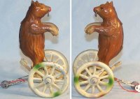 Prager Leo Tin-Figures Bear on carriage made of tin with...