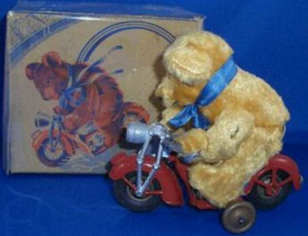 Guenthermann Tin-Motorcycles Bear on Motorcycle US Zone, Germany, tin, windup