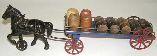 Wilkins Cast-Iron-Carriages Horse drawn barrel truck or cart. Working draft horse is 4-1