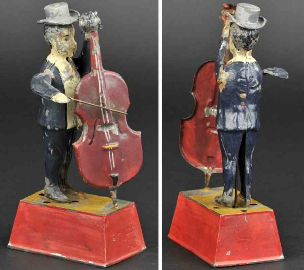 Guenthermann Tin-Figures Man playing bass guitar, whimsical depiction of standing fig
