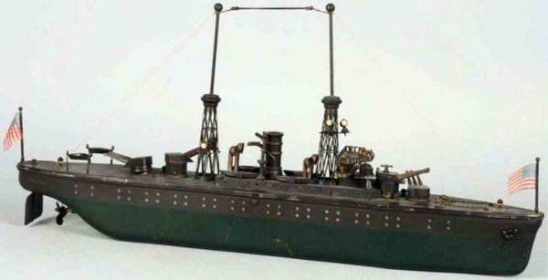 Orkin Tin-Ships Battleship with clockwork made of tin, deck  is a combinatio