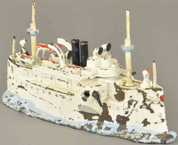 Stevens Co J. & E. Cast-Iron-Mechanical Banks Battleship Maine still bank, very intricate casting, p