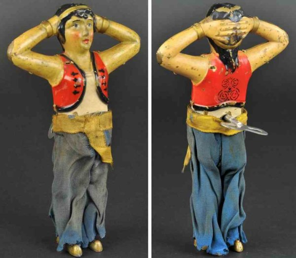 Unknown Tin-Figures Belly dancer, very early painted brass body example, depicte