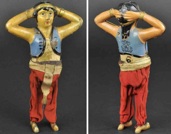 Unknown Tin-Figures Belly dancer toy, unknown European manufacturer, another ear