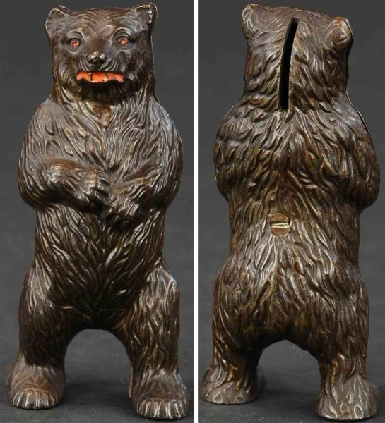 Harper Co John Cast-Iron-Mechanical Banks Bear on hind legs still bank of cast iron