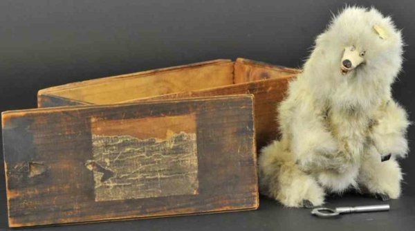Ives Baers Bear toy white version, early boxed example, clockwork activ