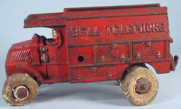 Hubley Cast-Iron trucks Bell Telephone Mack large red truck and driver