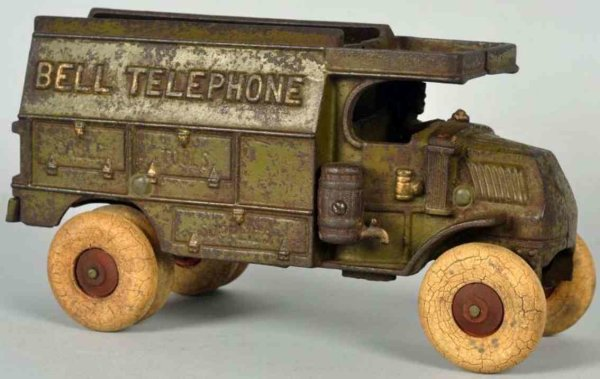 Hubley Cast-Iron trucks Cast iron Bell Telephone truck toy, largest size variation w