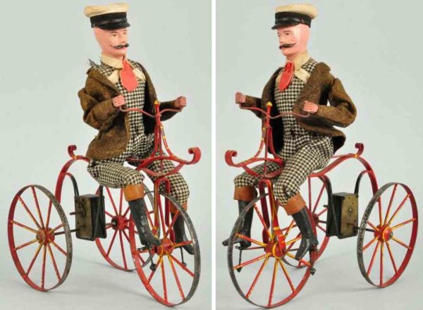 Unknown Tin-Figures Early tin bicycle clockwork toy, French maker, tin bicycle w
