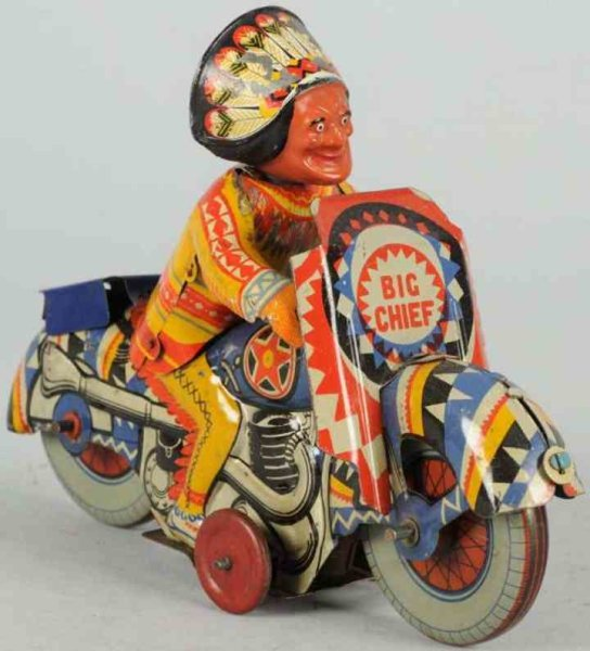 Mettoy Tin-Motorcycles Tin lithographed Big Chief Indian motorcycle toy with wind-u