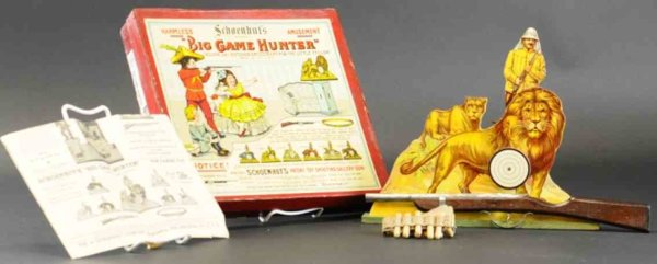 Schoenhut Wood-Toys Target game with box, big game hunter featuring the lion tar