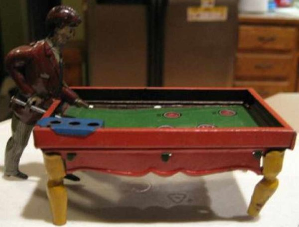 Kellermann Tin-Penny Toy tin pool player, the pool player stands with his pool cue po