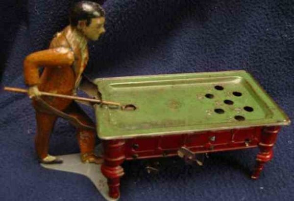 Guenthermann Tin-Figures mechanical pool player with clockwork mechanism. When wound,