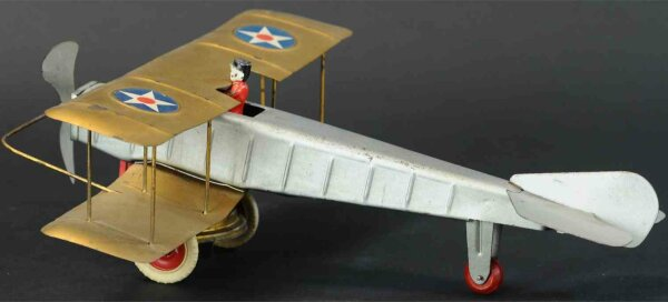 Kingsbury toys Tine Ariplanes Pressed steel airplane wind-up toy, bi-wing version, origina