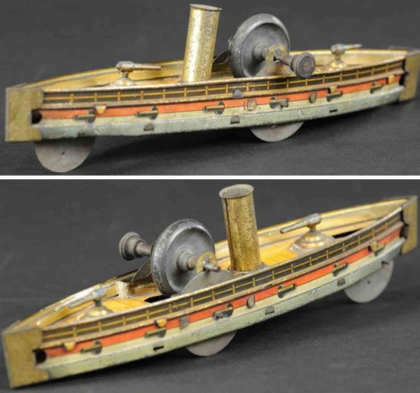 Hess Tin-Ships Gun boat as floor toy, lithographed tin, well detailed graph